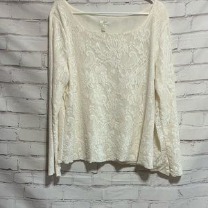 J JILL WOMEN's Cream Off White Stretch Lace Top Sz XL Pull On Top Floral